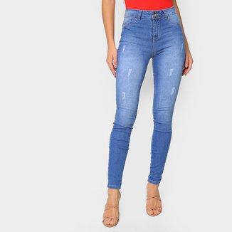 Calça Jeans Skinny Grifle Puídos Feminina