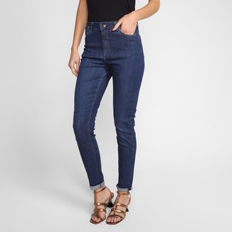 Calça Jeans Skinny Hering Estonada Cintura Alta Feminina