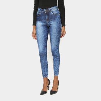 Calça Jeans Skinny Jezzian Estonada Cintura Média Feminina