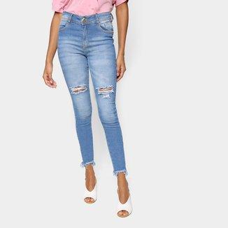 Calça Jeans Skinny Jezzian Jeans Destroyed Feminina