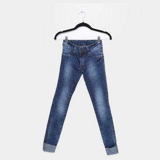 Calça Jeans Skinny Juvenil Exco Estonada Barra Dobrada Feminina