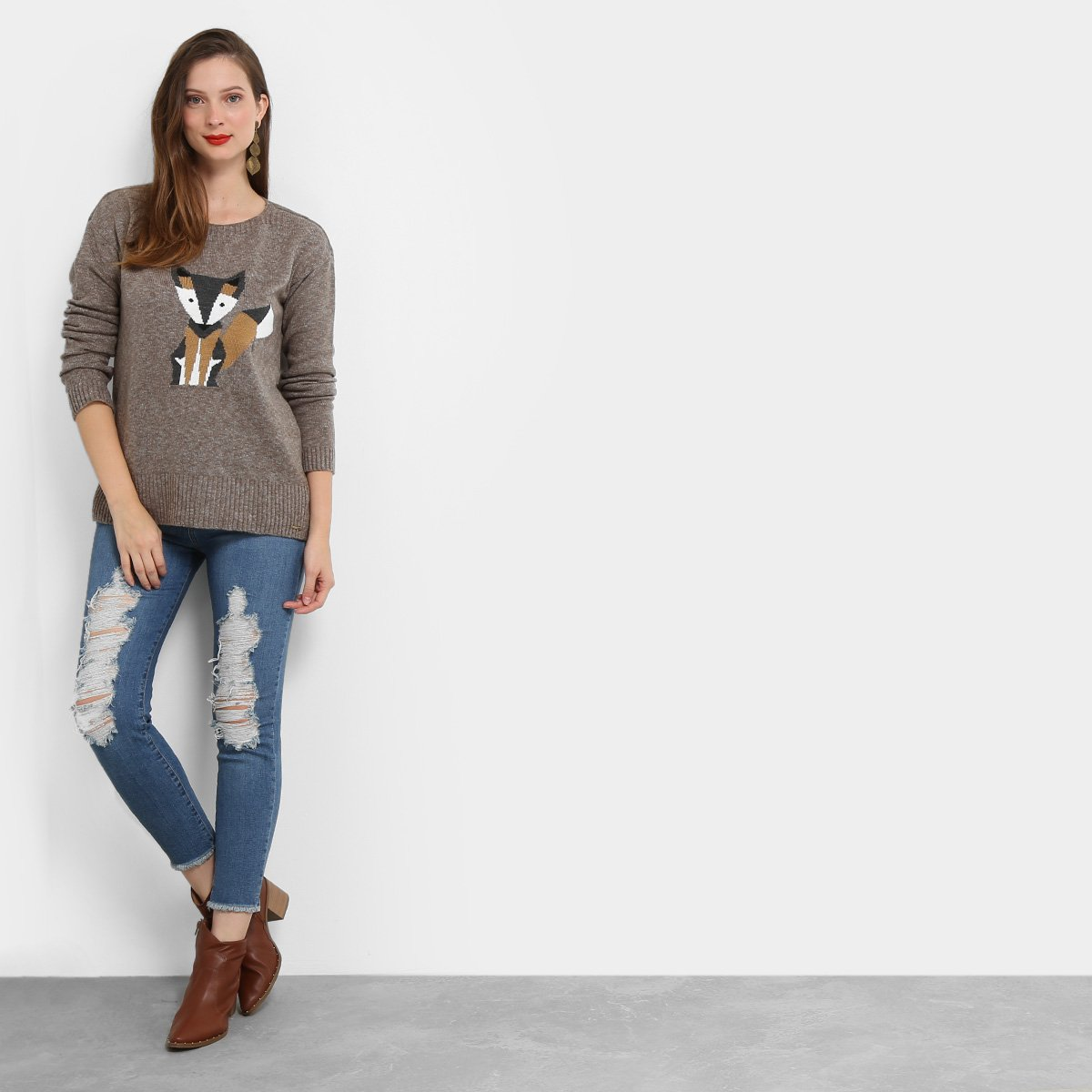 Calça Jeans Skinny Mob Estonada Rasgada Cintura Média Feminina - Jeans t8U1Gijy