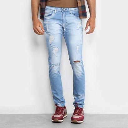36a5a3af Calça Jeans Skinny Preston Destroyed Elastano Skinny Masculina   Zattini