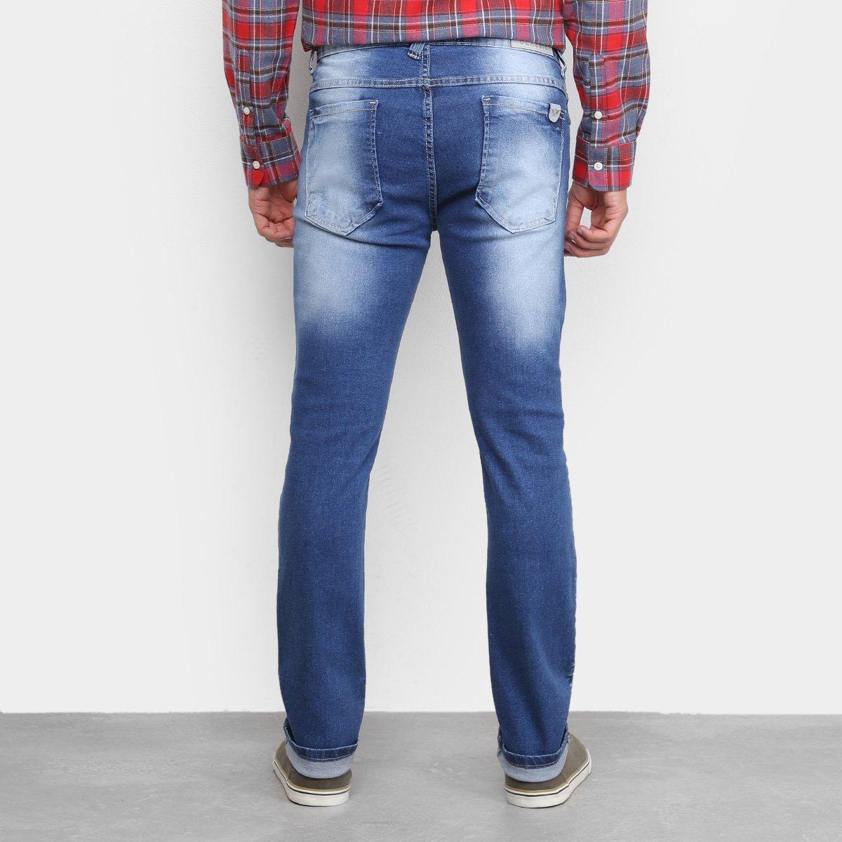 Calça Jeans Skinny Preston Estonada Puídos Masculina - Azul