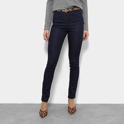 Calça Jeans Skinny Razon Barra Dobrada Cinto Cobra Cintura Média Feminina-Feminino