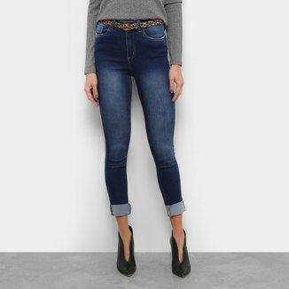 Calça Jeans Skinny Razon Estonada Barra Dobrada Cinto Onça Feminina