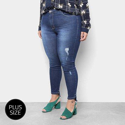Calça Jeans Skinny Razon Estonada Cintura Média Plus Size Feminina-Feminino