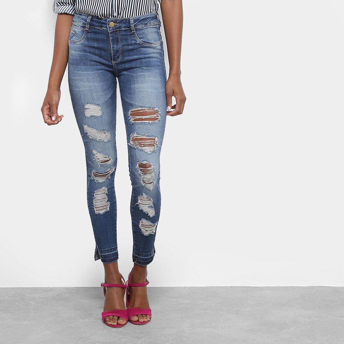 Calça Jeans Skinny Sawary Destroyed Cintura Média Feminina - Compre ... 41ddd69a4871b