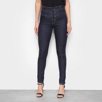 Calça Jeans Skinny Sawary Hot Pants Heart  Cintura Alta Feminina