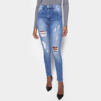 Calça Jeans Skinny Sawary Lipo Puído Feminina