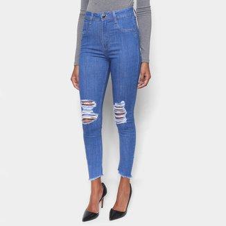 Calça Jeans Skinny Sawary Lipo Puídos Barra Desfiada Feminina