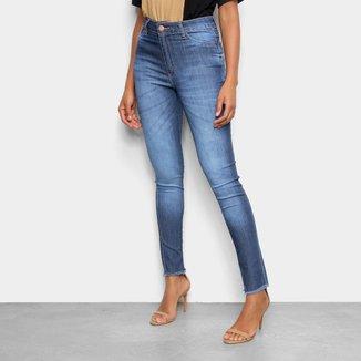 Calça Jeans Skinny Tks Estonada Cintura Alta Feminina