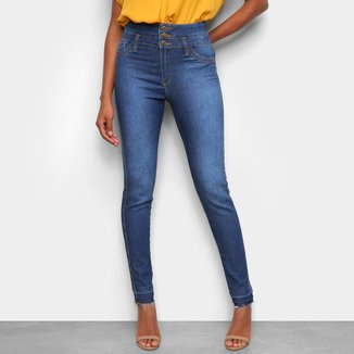 Calça Jeans Skinny Tks Estonada Dois Botões Cintura Alta Feminina