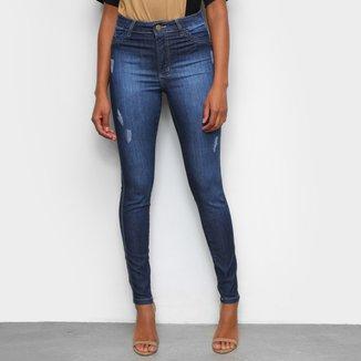 Calça Jeans Skinny Tks Estonada Puídos Cintura Alta Feminina
