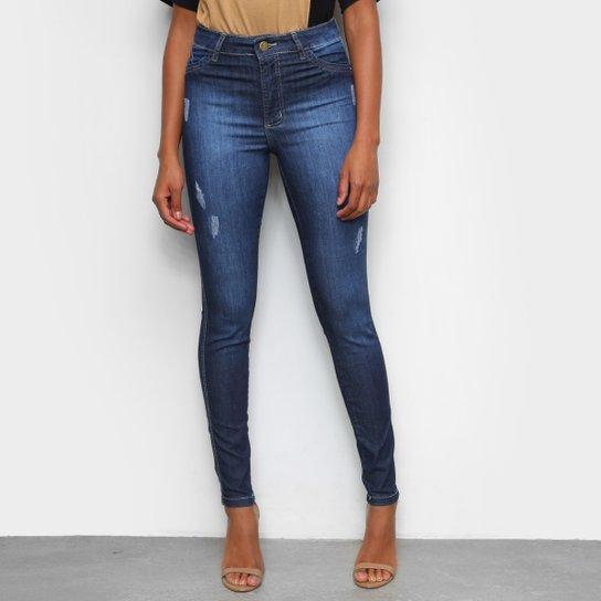 Calça Jeans Skinny Tks Estonada Puídos Cintura Alta Feminina   - Preto