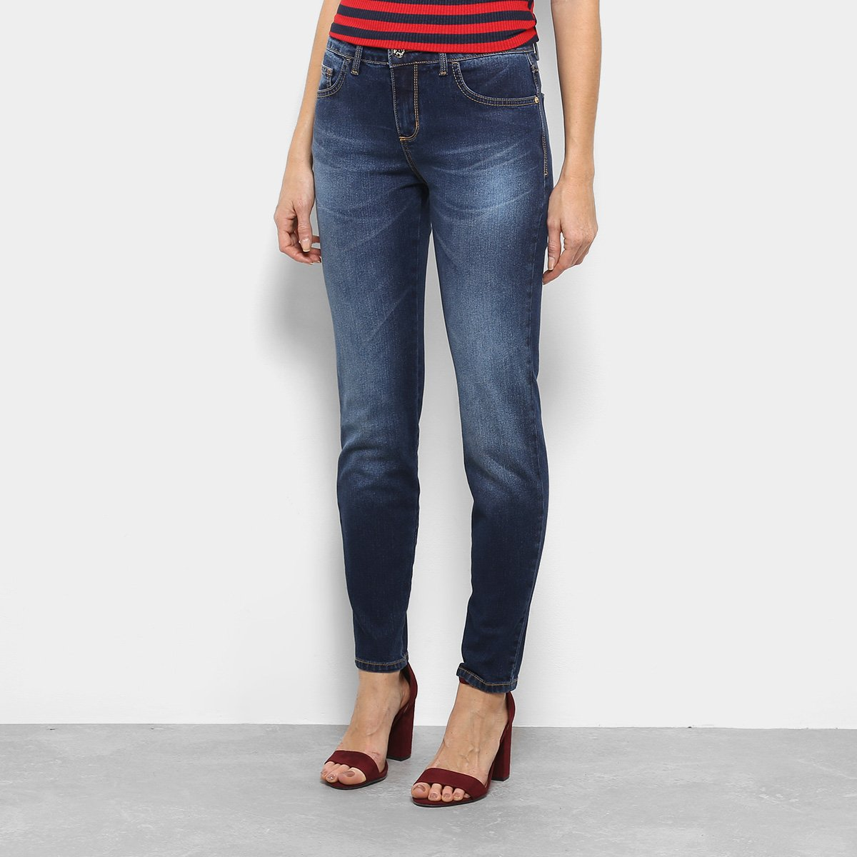 2662df086 Calça Jeans Skinny Triton Fátima Cintura Média Feminina - Azul - Compre  Agora | Zattini