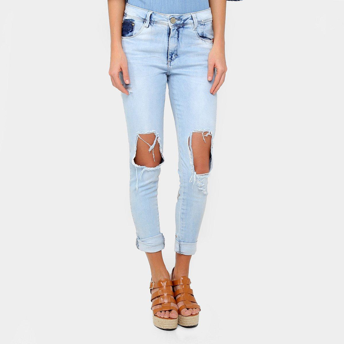 6ce63bd70 Calça Jeans Skinny Zune Rasgada Estrelas Bordadas Cintura Média