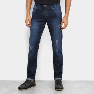 Calça Jeans Slim Coffee Puídos Masculino