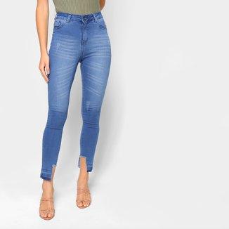 Calça Jeans Slim Grifle Cintura Alta Feminina