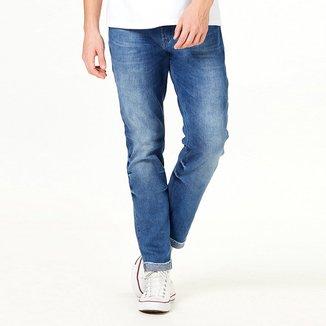 Calça Jeans Slim Hering Estonada Barra Dobrada Masculina