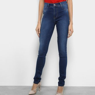 Calça Jeans Slim Sawary Estonada Cintura Alta Feminina