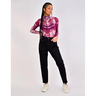 Calça Jeans Toneh Mom Nathi Preta