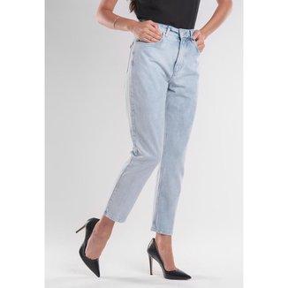 Calça Jeans Traymon Mom 5 Bolsos Delavê Feminina