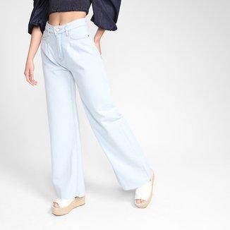 Calça Jeans Wide Leg Dzarm Cintura Alta Feminina
