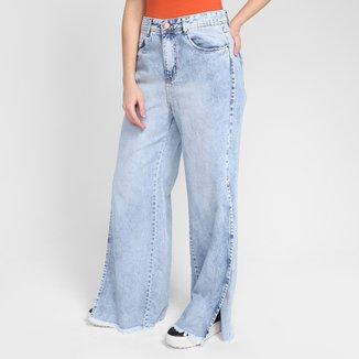 Calça Jeans Wide Leg Excel Cintura Alta Feminina