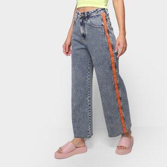 Calça Jeans Wide Leg Oh, Boy Estonada Feminina