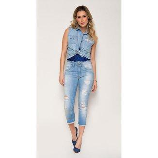 Calça Jeans Zait Flare Cropped Camomila Feminina