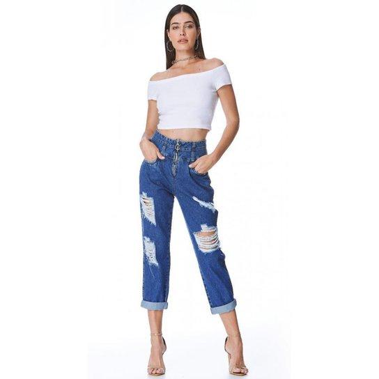 Calça Jeans Zait Mom Sandy Feminina - Azul