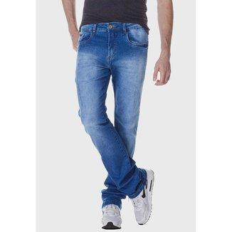 Calça Jeans Zuren Reta com Puídos Azul