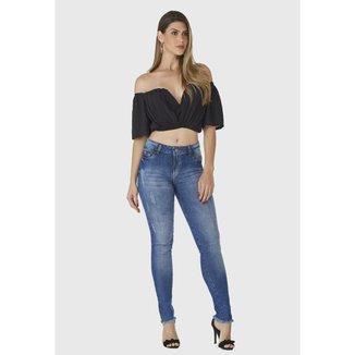 Calça Jeans Zuren Skinny Stone com Ziper na Barra Azul