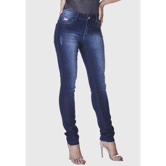 Calça Jeans Zuren Skinny Used Puídos Azul