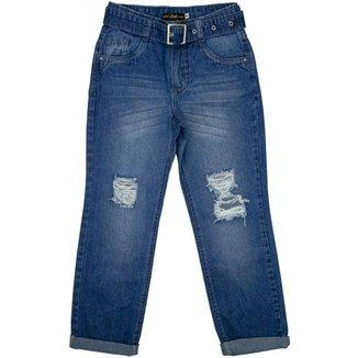 Calça Juvenil Look Jeans Mom c/ Cinto Jeans - UNICA - 14