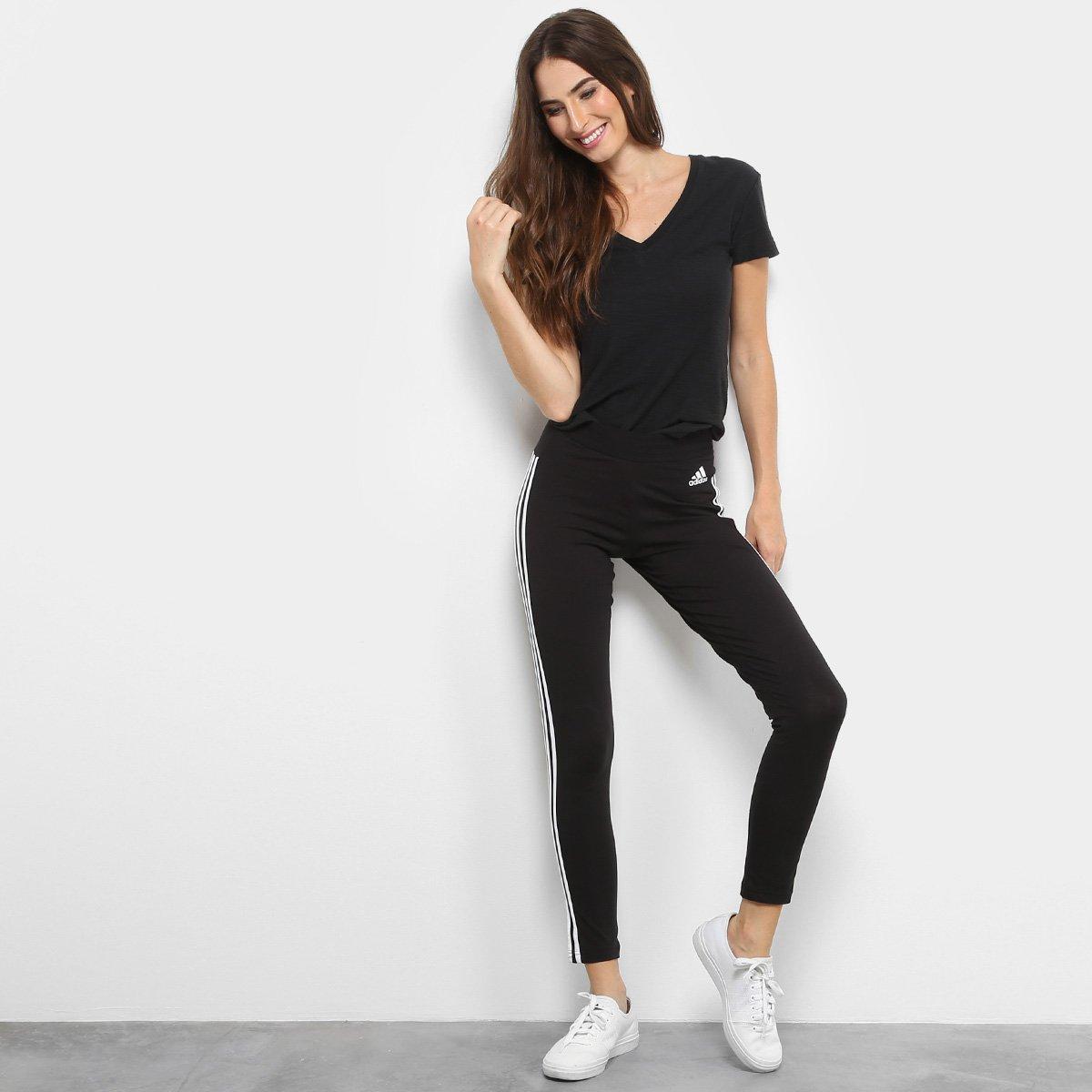 Calça Legging Adidas Essentials 3S Feminina - Compre Agora  63437f2019b6a