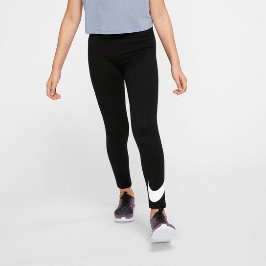 Calça Legging Infantil Nike Sportswear Favourites Feminina - Preto+Branco