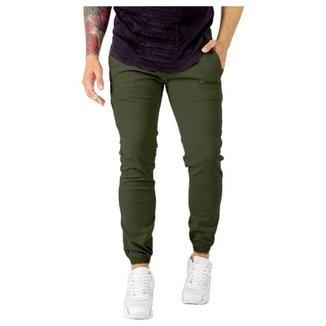 Calça Masculina Jogger Sarja Jeans Elástico Punho