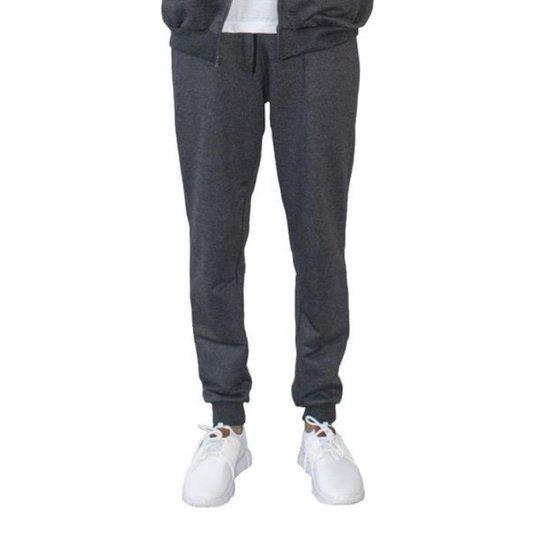 Calça Moletom Masculino Punho Cordão Conforto frio Dia a Dia - Chumbo