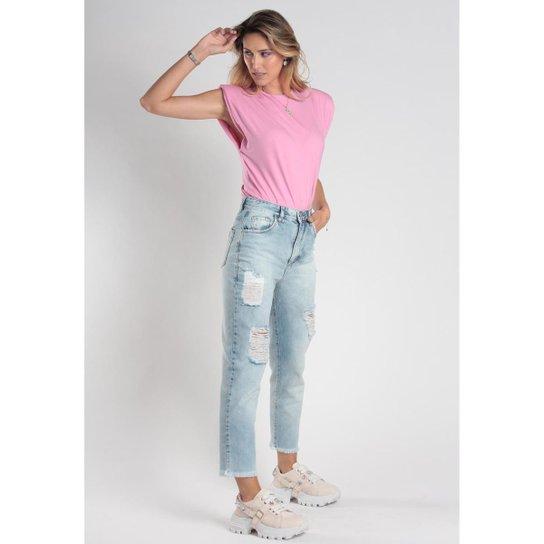 Calça Mom Jeans 5 Bolsos Destroyes Feminina - Azul Claro