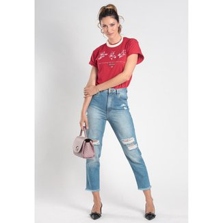 Calça Mom Jeans Destroyed 5 Bolsos Feminina