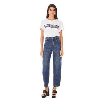 Calça Morena Rosa Mom Cós Alto Detalhe Lateral Jeans