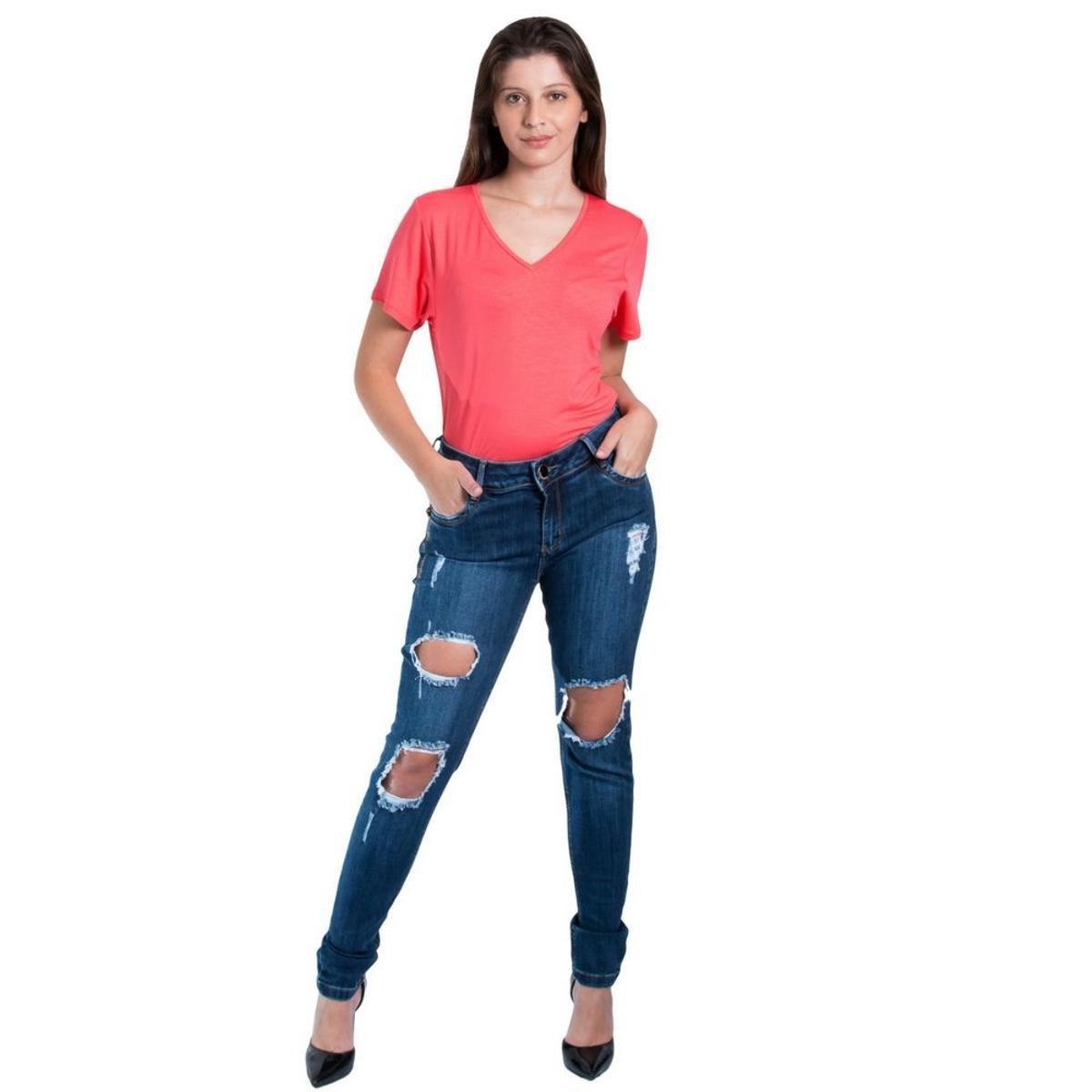 cac39ece4 Calça Morena Rosa Skinny Andréia Cós Intermediário Assinatura Feminina -  Azul - Compre Agora