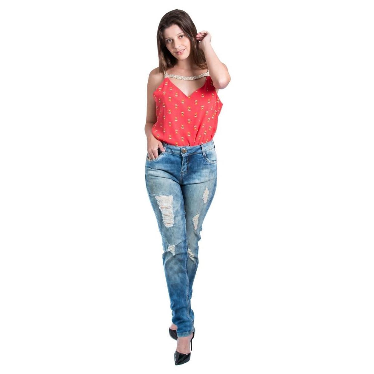 2792f6549 Calça Morena Rosa Skinny Andréia Cós Intermediário Destroyer Feminina - Compre  Agora