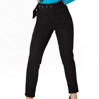 Calça Onça Preta Mom Black Com Cinto Jeans