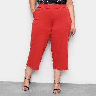 Calça Pantacourt Lecimar Plus Size Com Bolso Feminina