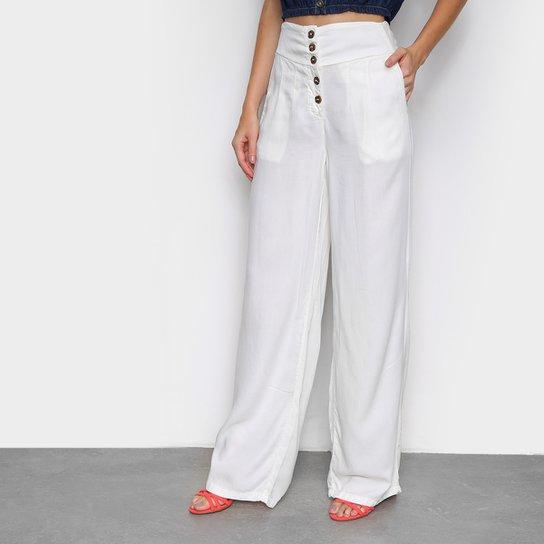Calça Pantalona Cambos Com Bolsos E Botões Cintura Alta Feminina - Off White