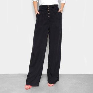 Calça Pantalona Cambos Com Bolsos E Botões Cintura Alta Feminina