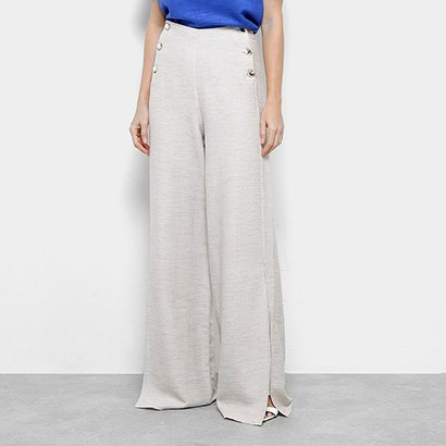 Calça Pantalona Dimy Botões Fenda Feminina-Feminino